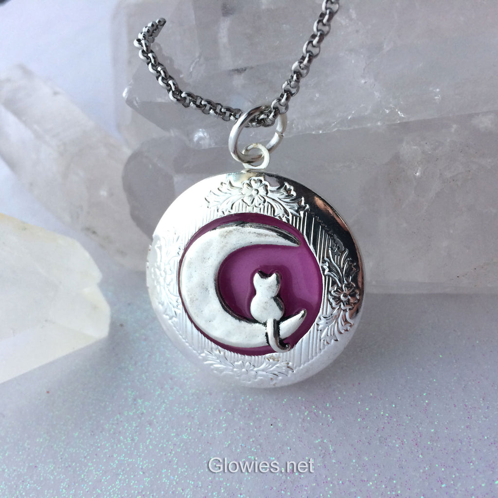 Kitty Sitting on Crescent Moon Cat Glow Locket ®