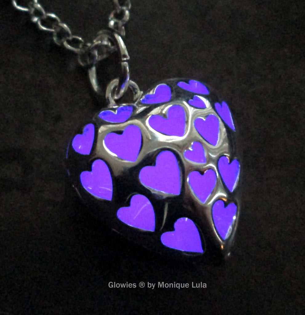 Purple Love Spell Glowing Heart Necklace