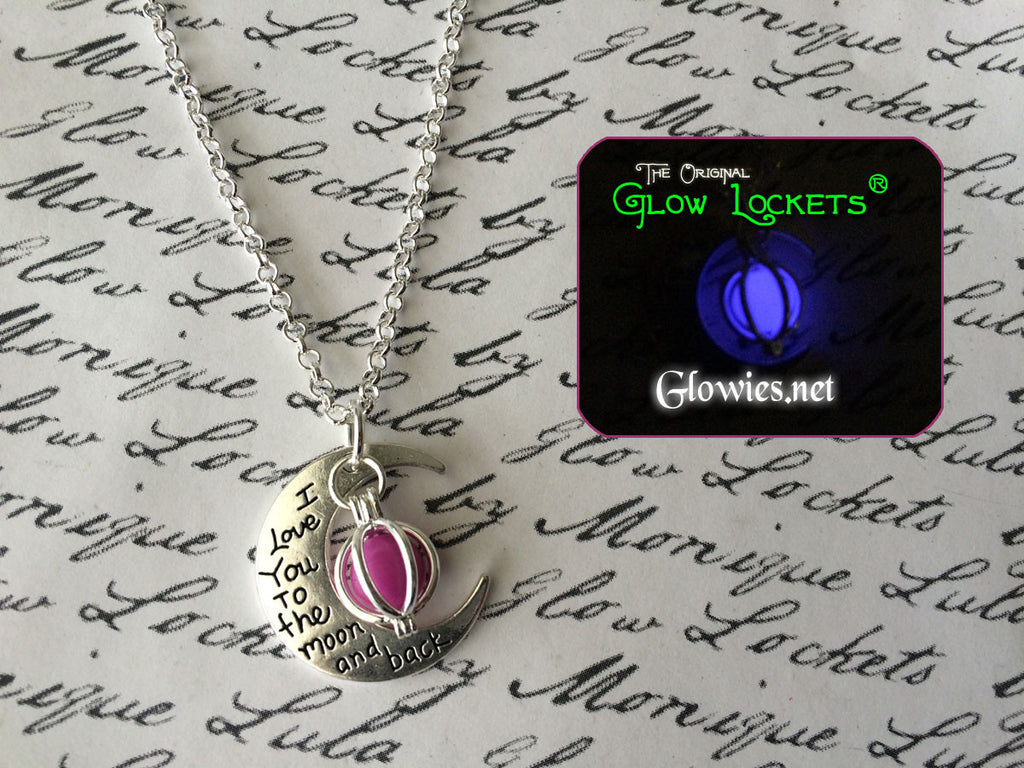 Purple Love You To The Moon And Back Crescent Glowing Orb Necklace