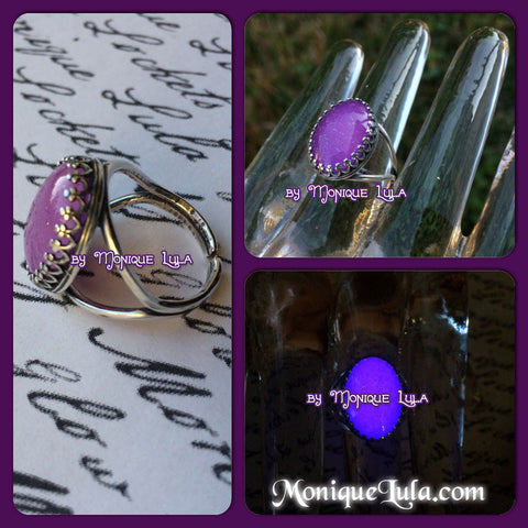 Purple Glowing Victorian Violet Antiqued Adjustable Ring