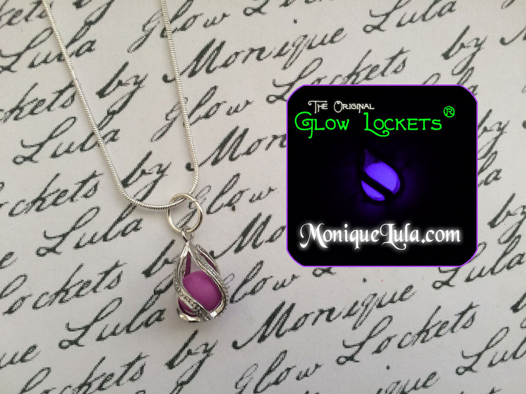 Purple Spin Cage Glowing Orb Necklace Violet Glow