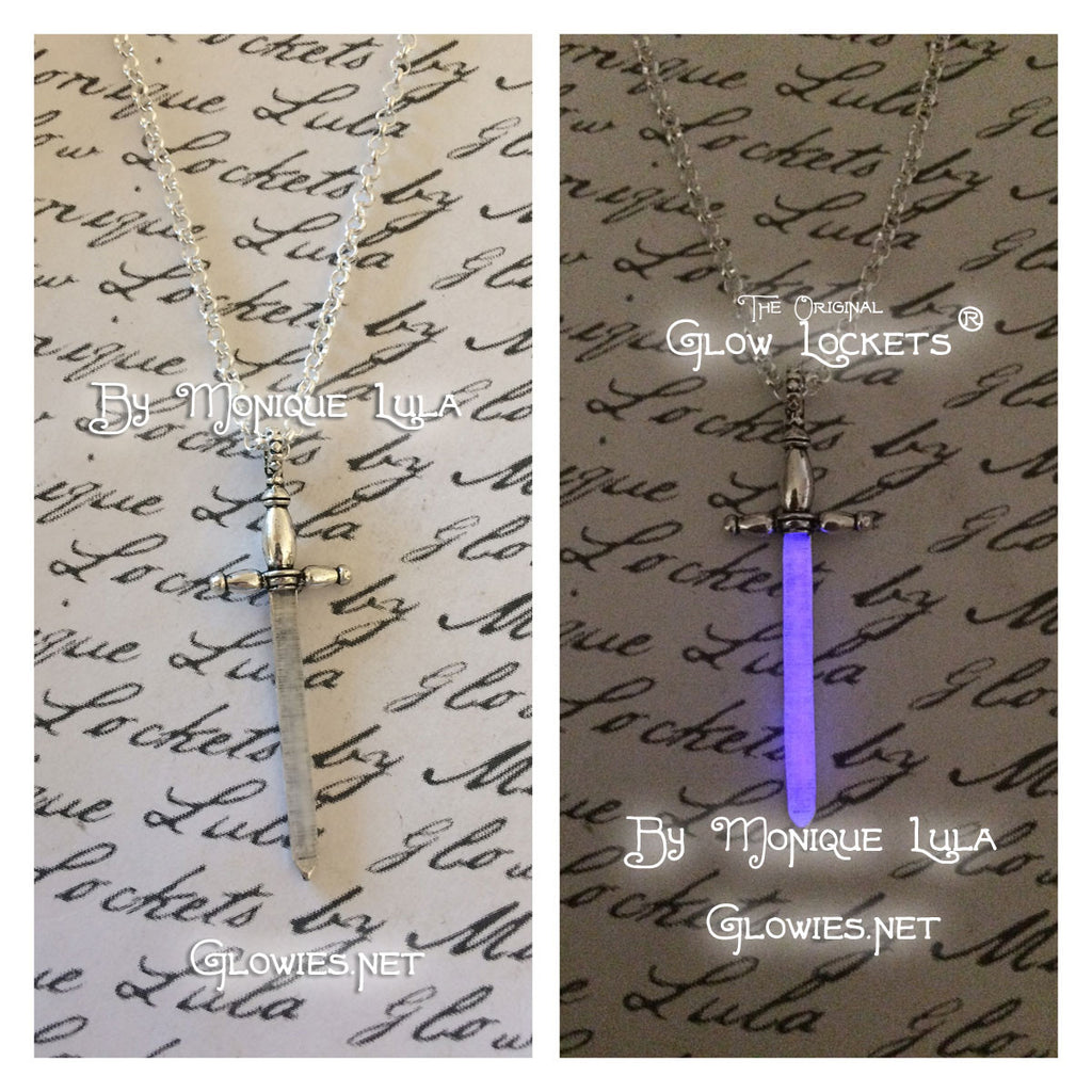Purple Excalibur Glowing Sword necklace