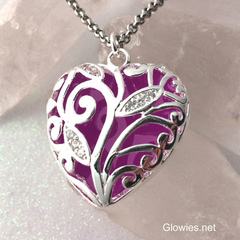 Purple Heart of Winter Glowing Necklace