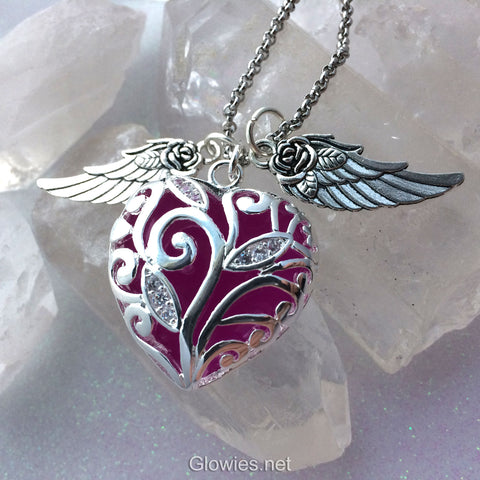 Flying Glowing Heart of Winter with Wings