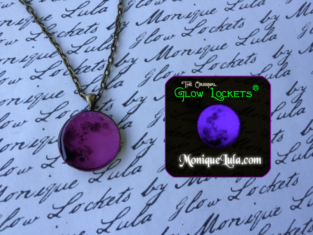 Purple Glowing Moon Necklace