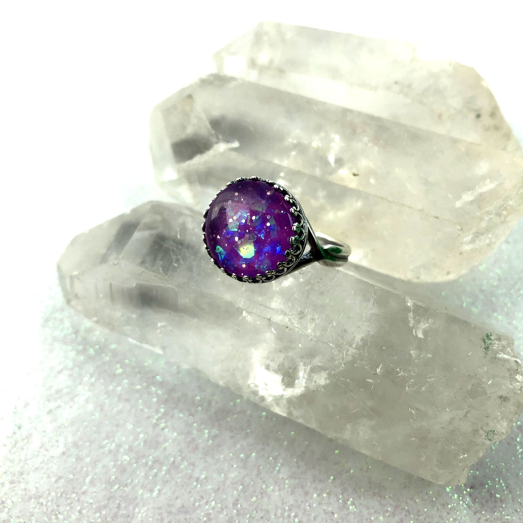 Opal Glow Glass Victorian Adjustable Ring