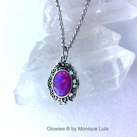 Antiqued Silver Glowing Purple Opal Oval Necklace