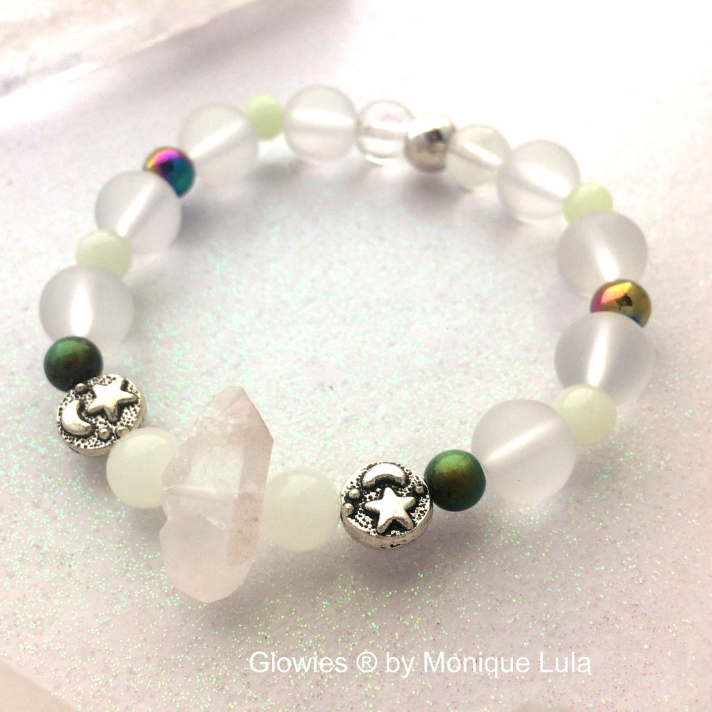 Mood Color Changing Glow Glass Quartz Crystal Stretch Beaded Bracelet