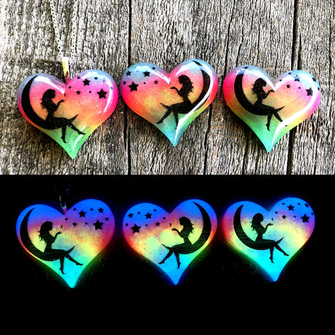Moon Fairy with Stars Glow in the Dark Lula Heart Necklace