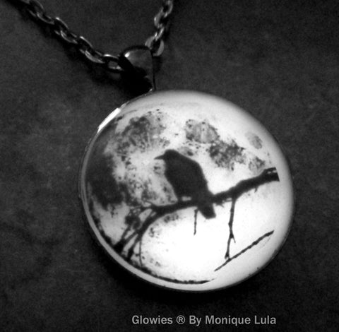 Black Raven in Tree with Real Full Moon Glow in the dark Gun Metal Pendant