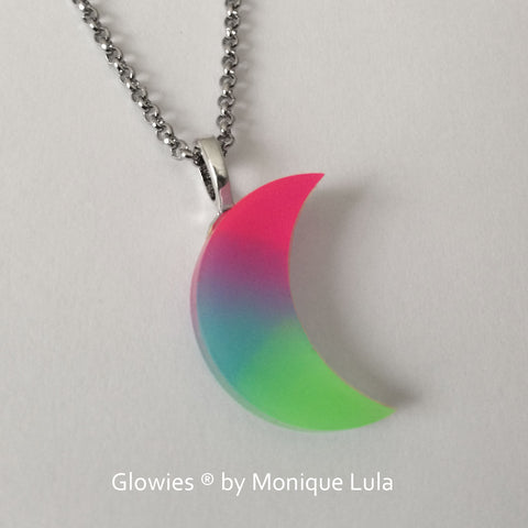3D Rainbow Crescent Moon Glow Necklace