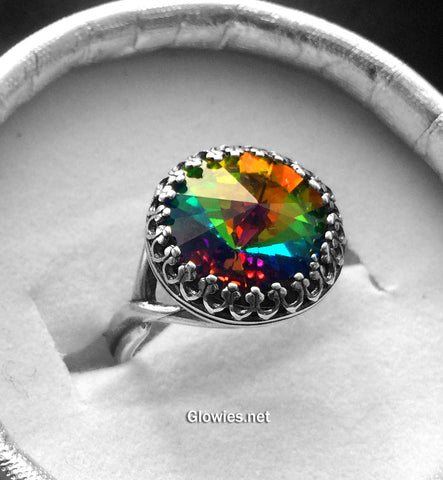 Rainbow Crystal Adjustable Victorian Ring
