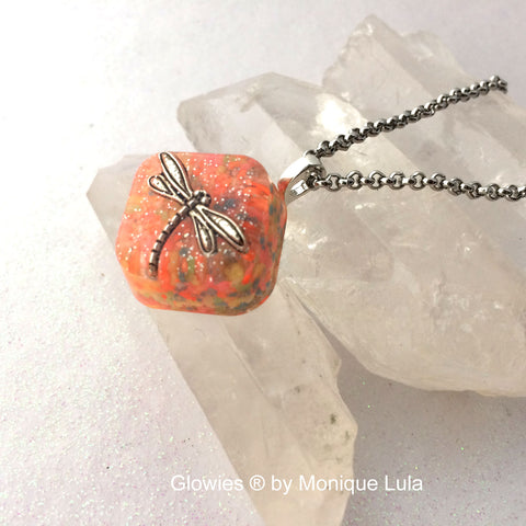 Frozen Dragonfly Glow Necklace