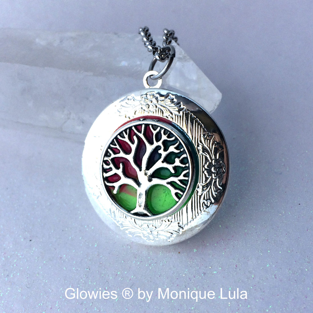 Rainbow Tree of Life Glowing Locket Necklace