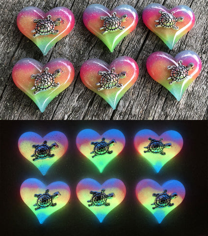Rainbow Glow Turtle Lula Heart Necklace