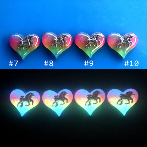 Rainbow Glow Lula Heart with Unicorn Inside Necklace