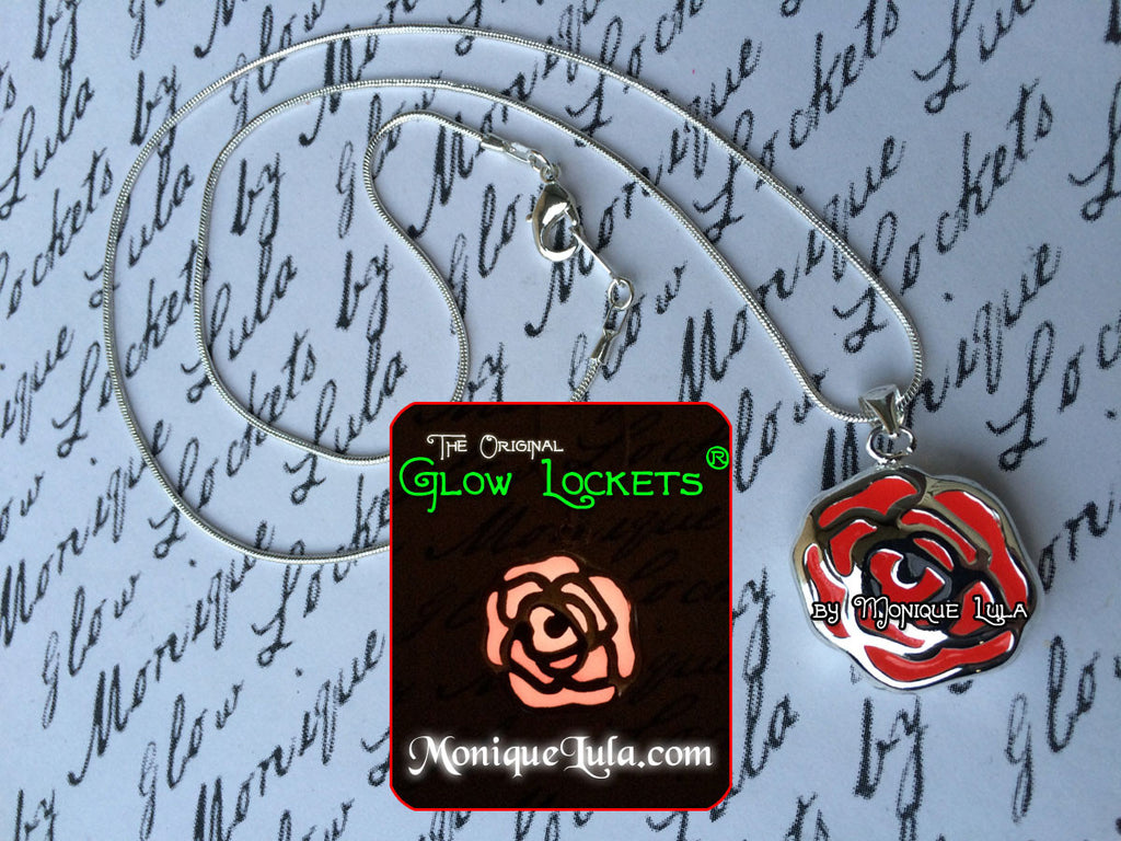 Glowing Red Rose Necklace Glow Jewelry Valentine Gift