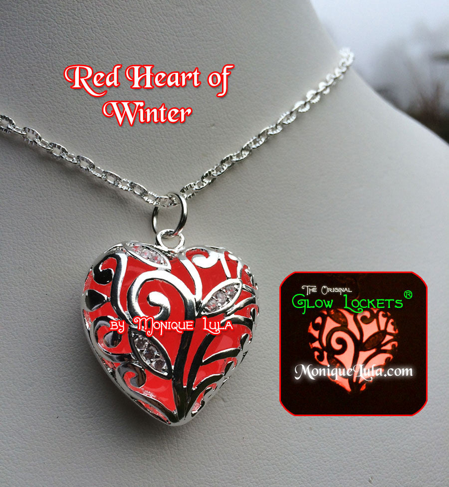 Red Heart of Winter Frozen Forest Glowing Necklace