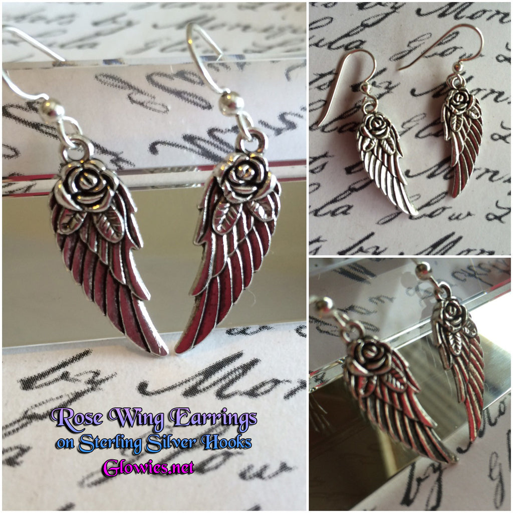 Rose Wing Charm Earrings