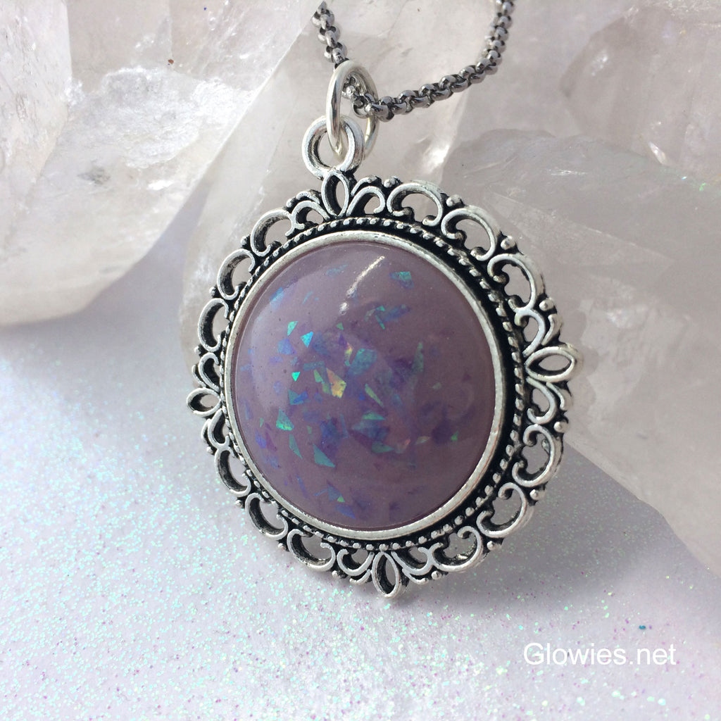 Purple Glowing Opal Victorian Round Necklace