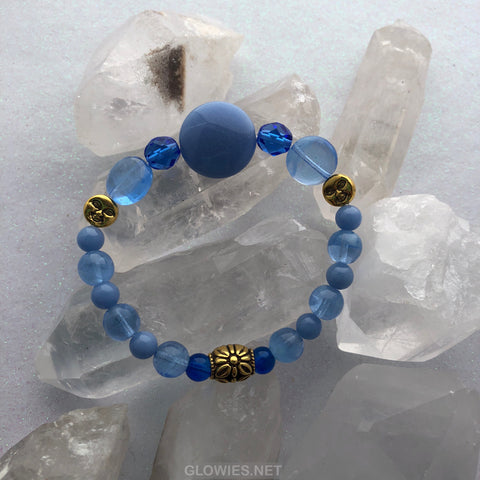 Sapphire Full Moon Glow in the Dark Glass Beaded Bracelet