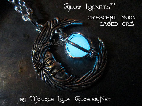 Crescent Moon With Face Caged Orb Glow Locket Silver
