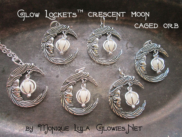 Glowies Glow Jewelry Crescent Moon With Face Caged Orb
