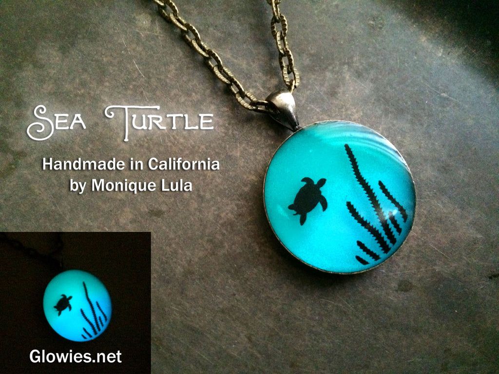 Sea Turtle Glow Art Necklace