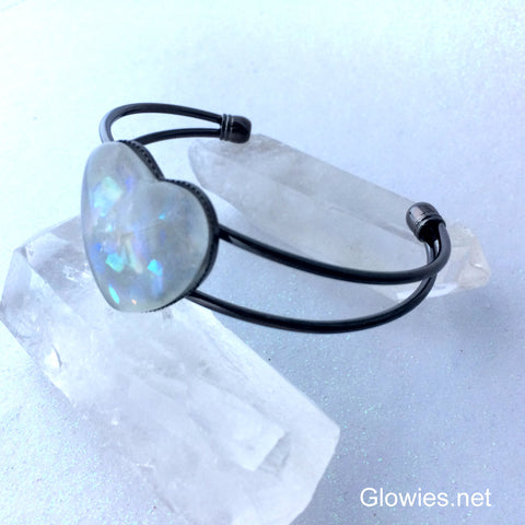 Glow Glass Heart Cuff Bracelet