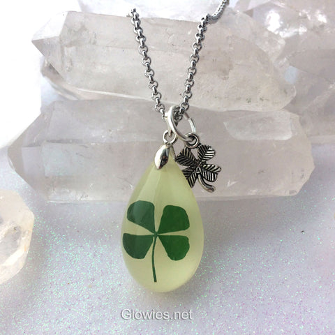 Lucky Clover Glowing Shamrock Teardrop Necklace
