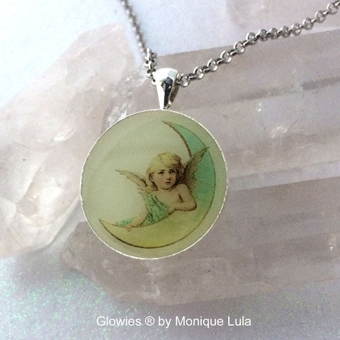 Angel Moon Glow in the dark Vintage Art Pendant
