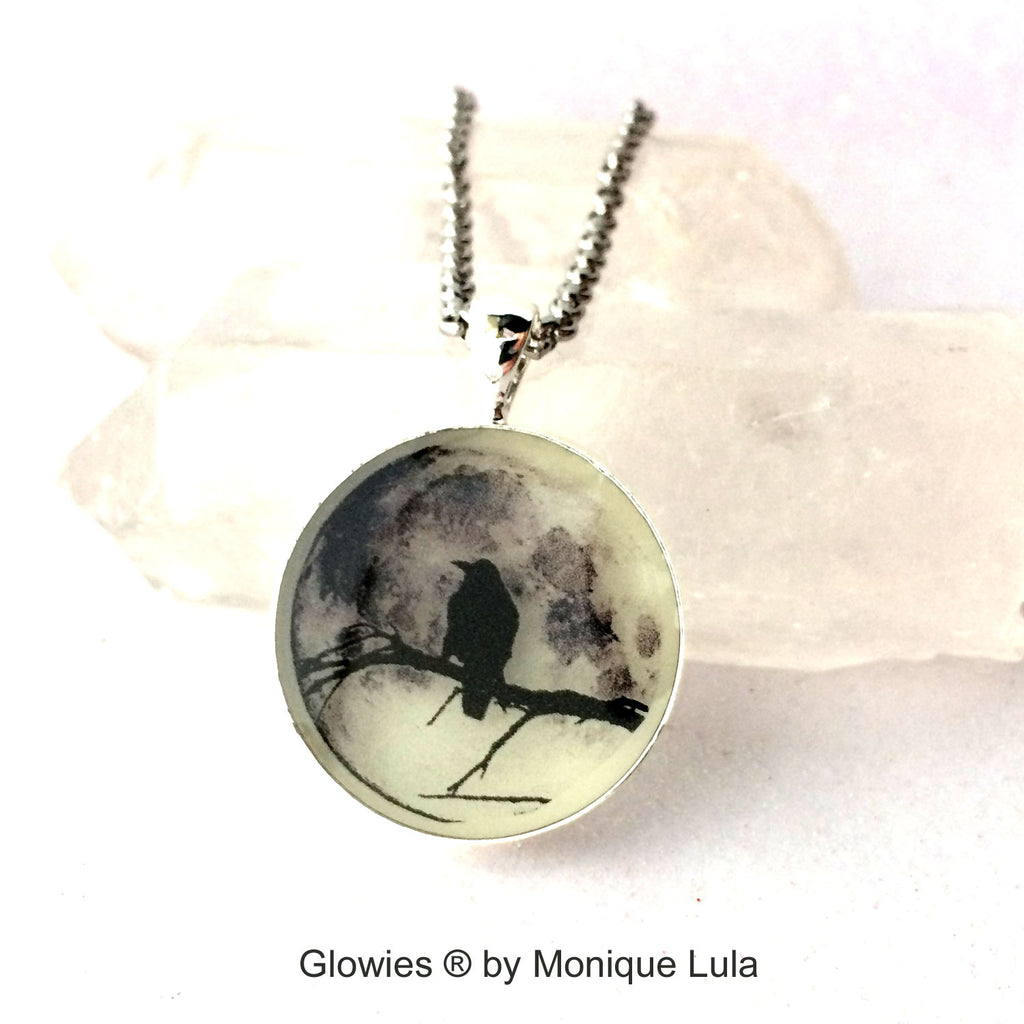 Black Raven in Tree with Real Full Moon Glow Necklace