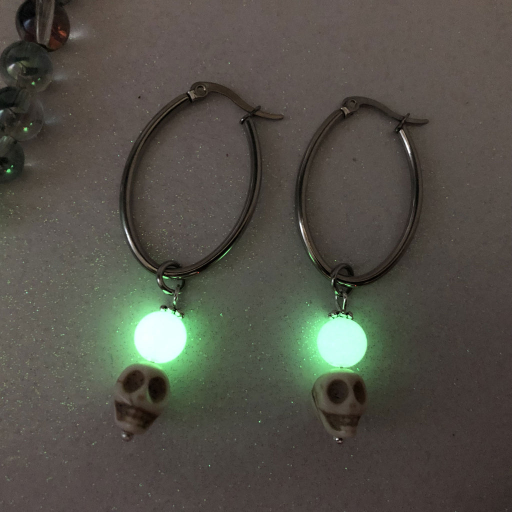 Stainless Steel Skull Glow Orb Hoop Earrings