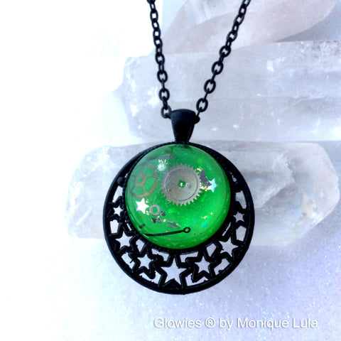Steampunk Bubble Glow Necklace with Real Vintage Watch Parts