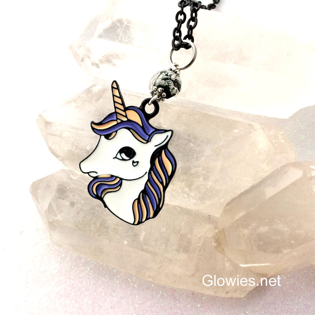 Black Enamel Unicorn in Outer Space Necklace