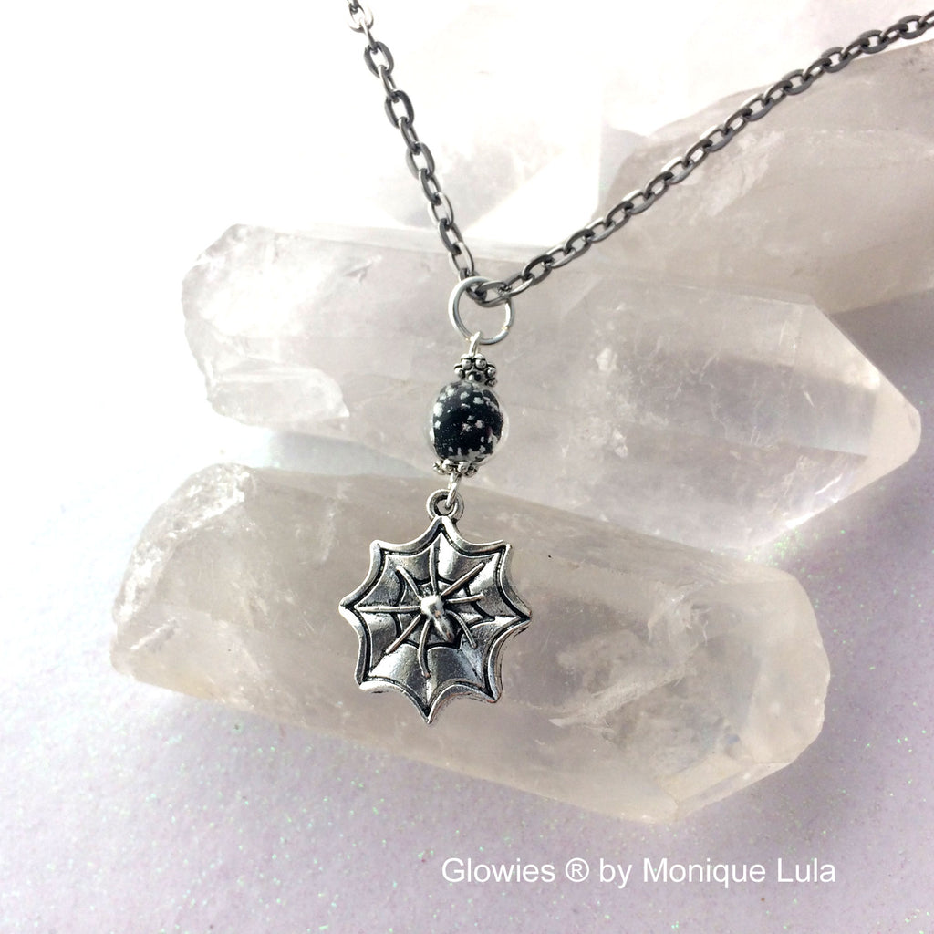 Spider Galaxy Glass Glow Necklace