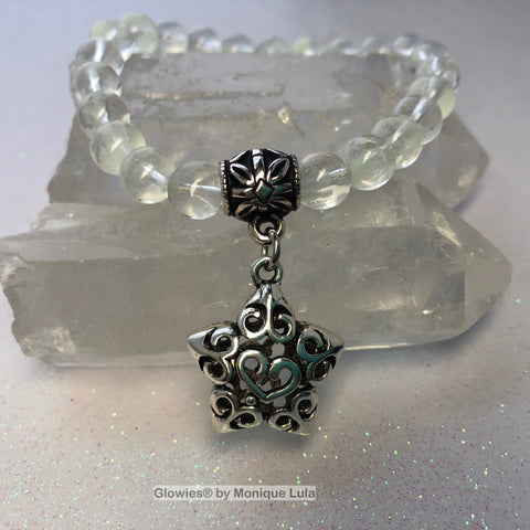 Dream Upon A Star Glow in the Dark Glass Beaded Stackable Stretch Bracelet