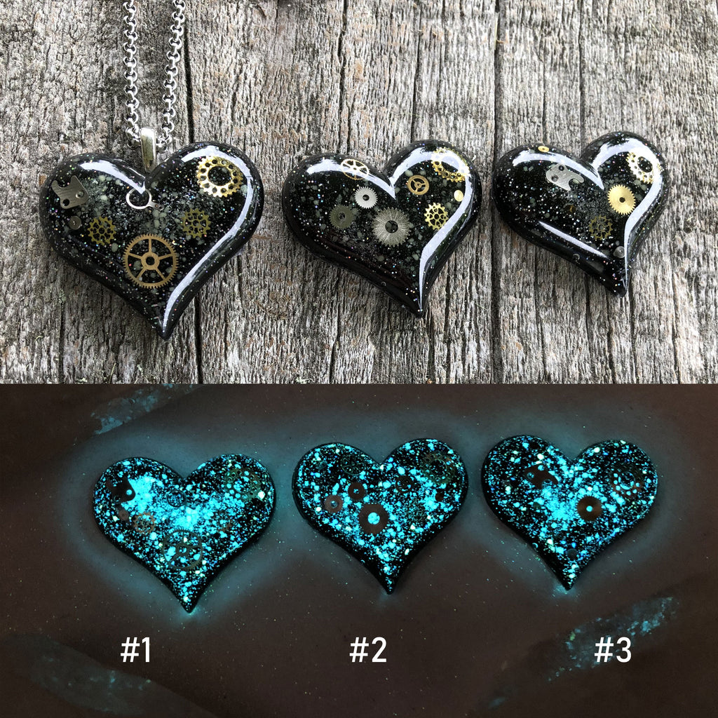 Steampunk Glow in the dark Heart Necklace