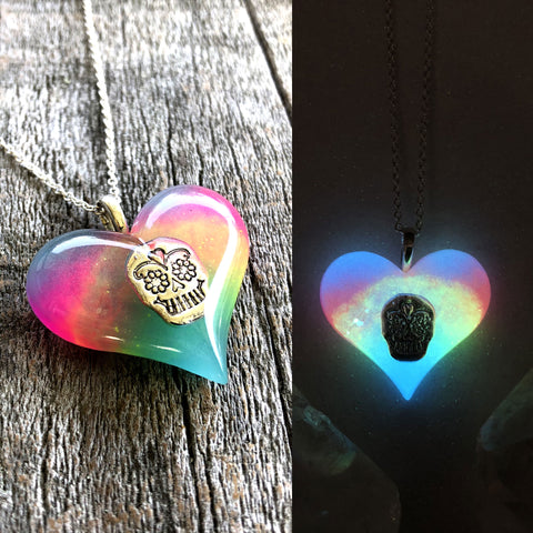 Sugar Skull Lula Heart Glow in the dark Necklace