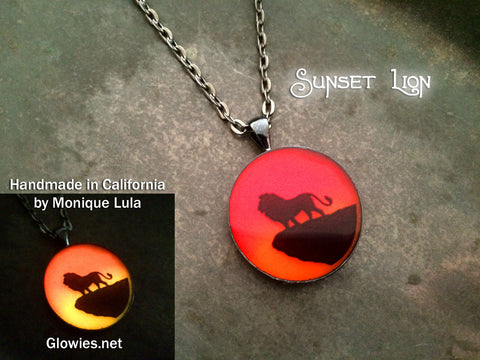 Lion Sunset Safari Art Glow Necklace