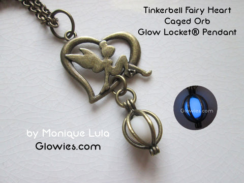 Tinkerbell Fairy Heart Caged Orb Glow Locket® Pendant