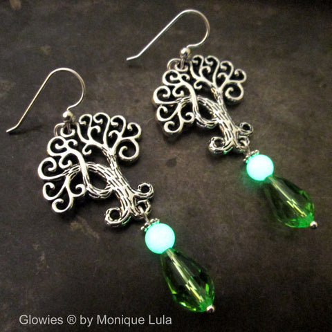 Tree of Life Glow Glass Earrings