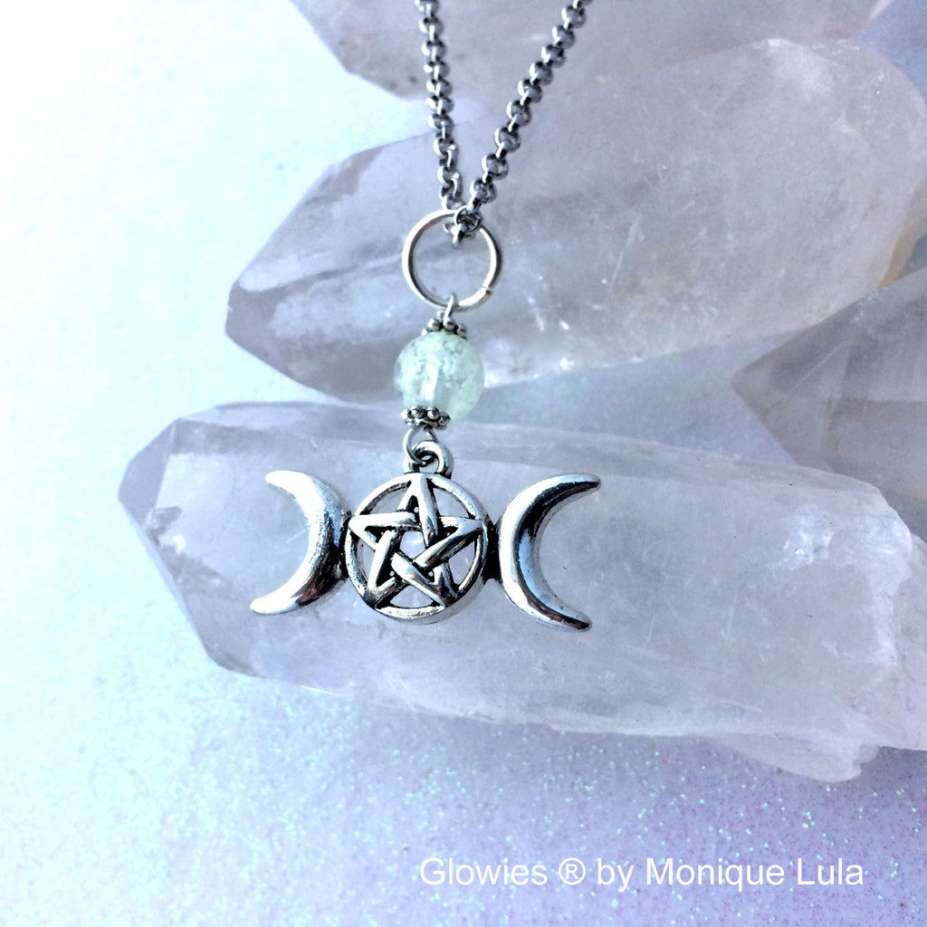 Triple Moon Pentacle Glow Glass Necklace