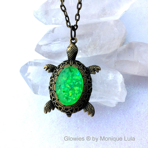 Turtle with Glow Glass Oval Shell Necklace