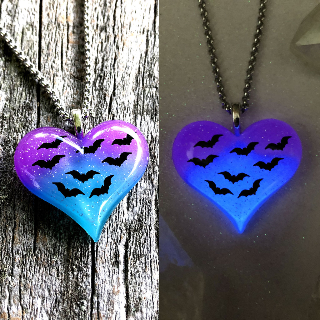 Twilight Bats Glow Heart Necklace
