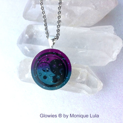 Crescent Moon with Stars Glow Art Necklace