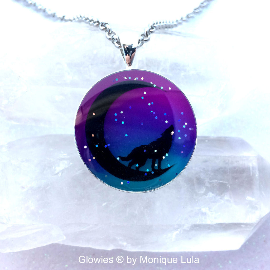 Howling Wolf on the Moon Glow Art Necklace
