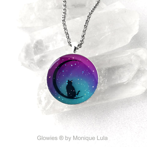 Moon Kitty Cat Glow in the Dark Necklace