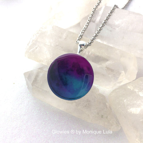 Twilight Blue & Purple Glow Moon Necklace