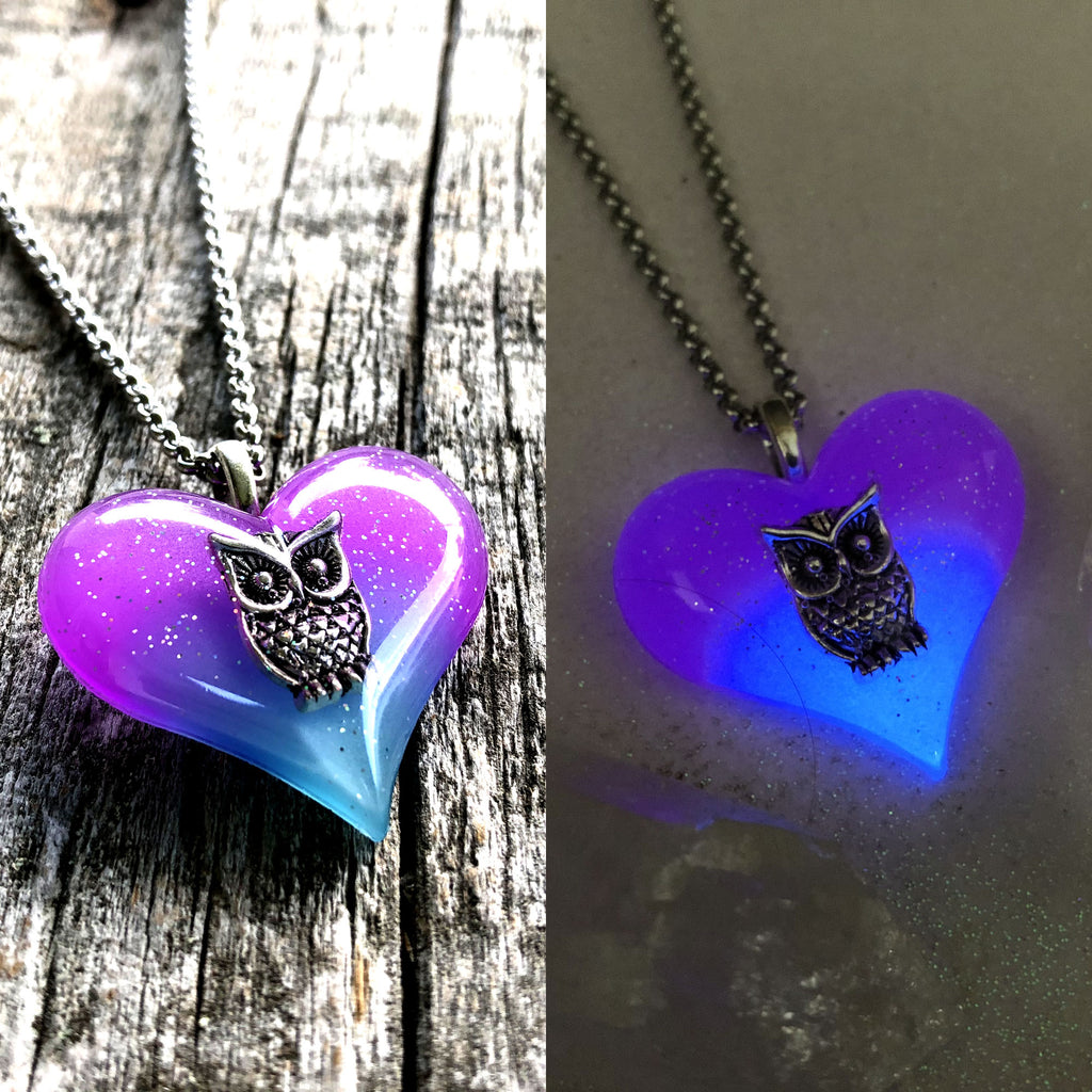Owl Heart Glow in the dark Necklace